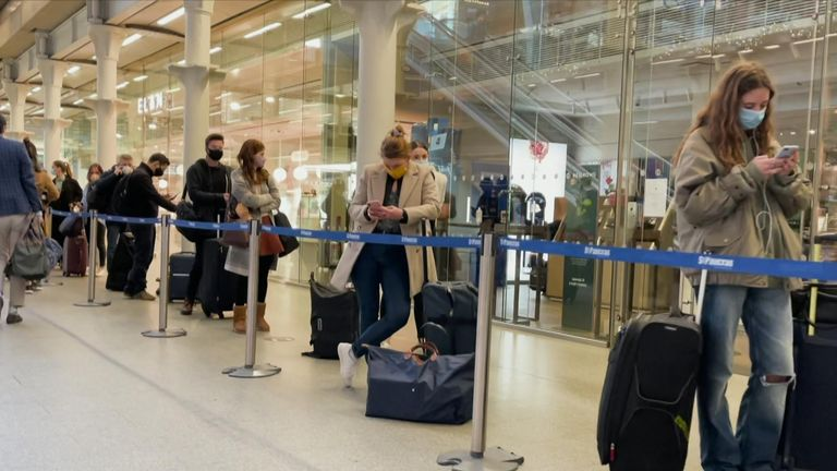 Queues at St Pancras station on the first day of Tier 4 restrictions