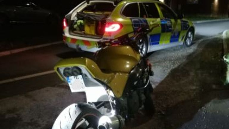 Police stopped the biker on the A27. Pic: PC Glen McArthur