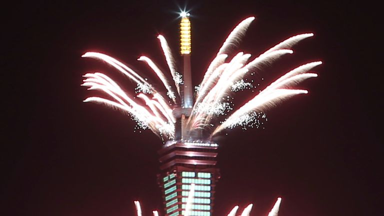 Fireworkswere let off from the Taipei 101 building during the New Year's celebrations in Taipei, Taiwan.