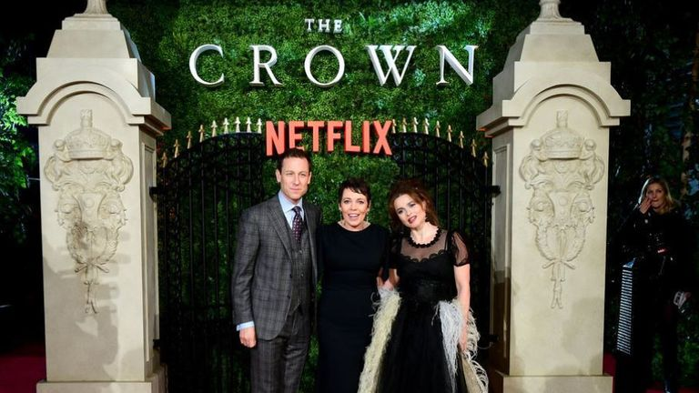 Helena Bonham Carter (far right) says there is a 'moral responsibility' for the show to recognise its a piece of fiction