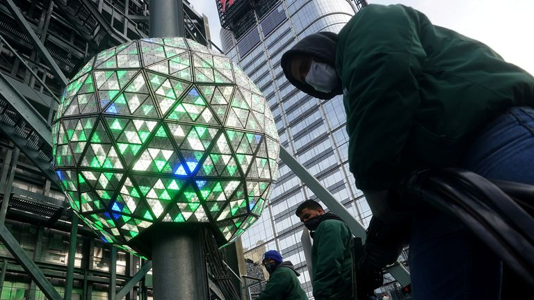 The Times Square ball is tested out for the media ahead of the New Year's celebration in Times Square