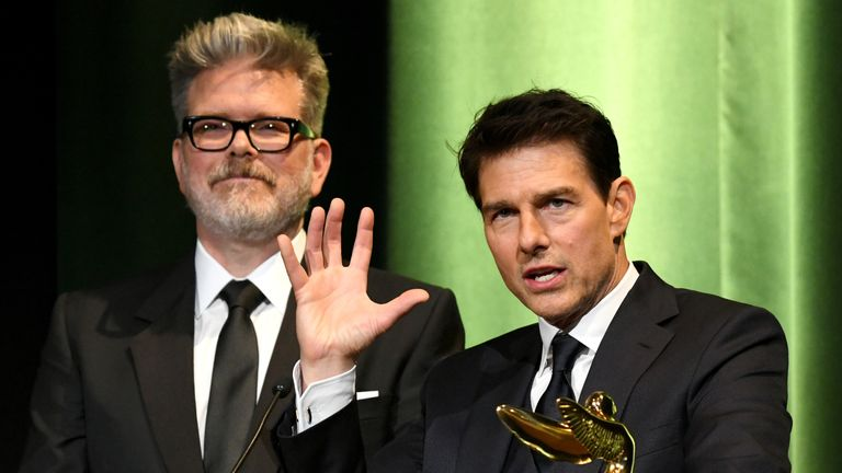 Christopher McQuarrie (L) and Tom Cruise are working together on set of Mission Impossible 7 and 8