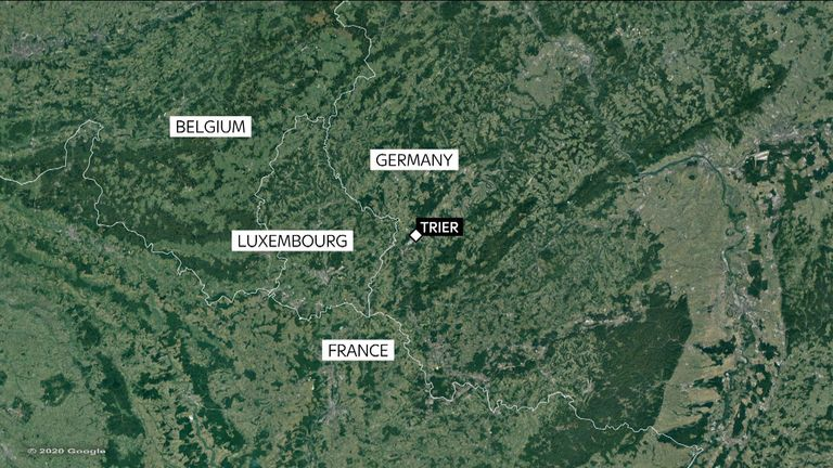 Map shows Trier, southwest Germany on Luxembourg border