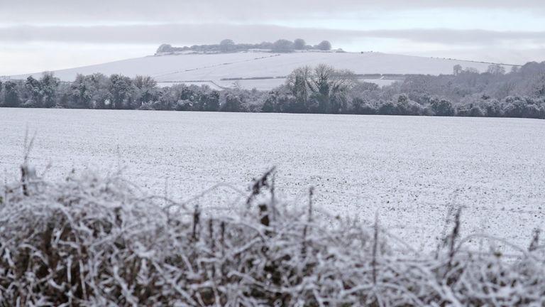 Ladang tertutup salju di Grateley, Hampshire.