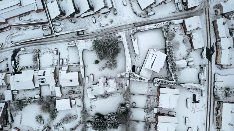 Snow covered houses in the village of Oulton in Staffordshire.