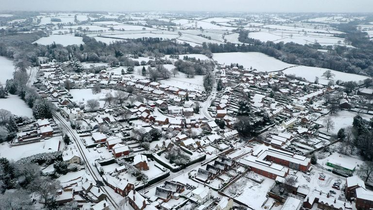 Snow covering the village of Oulton in Staffordshire.