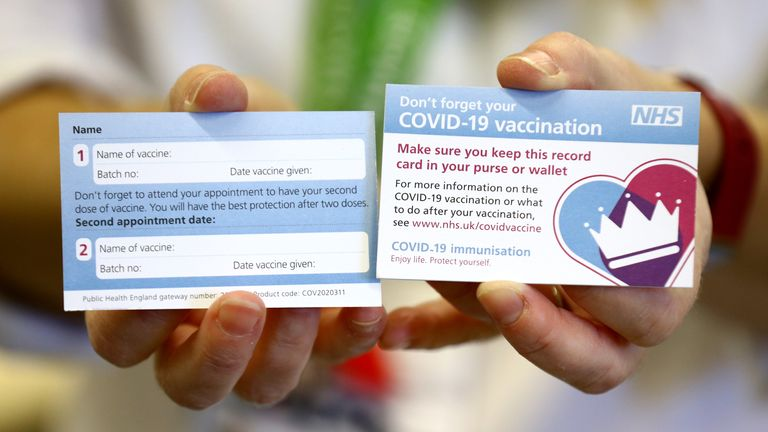 Croydon University Hospital will issue these cards to people following their COVID-19 vaccinations