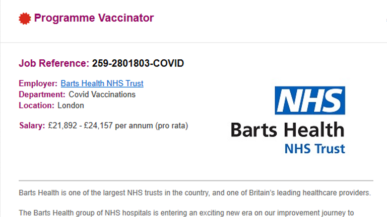 Job advert for St Barts Healthcare Trust recruiting staff for Covid vaccination programme