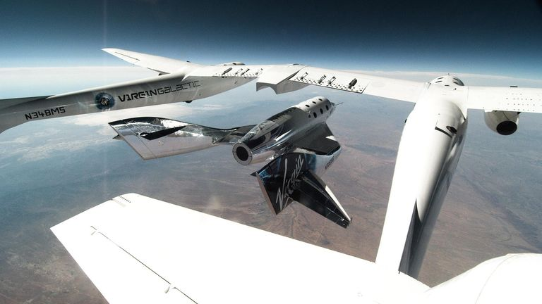 The spacecraft is seen gliding over New Mexico