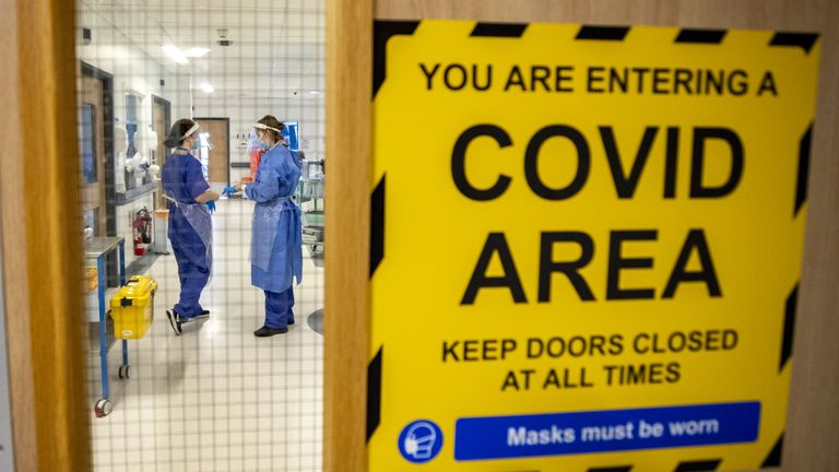 The entrance to one of five Covid-19 wards at Whiston Hospital in Merseyside where patients are taken to recover from the virus