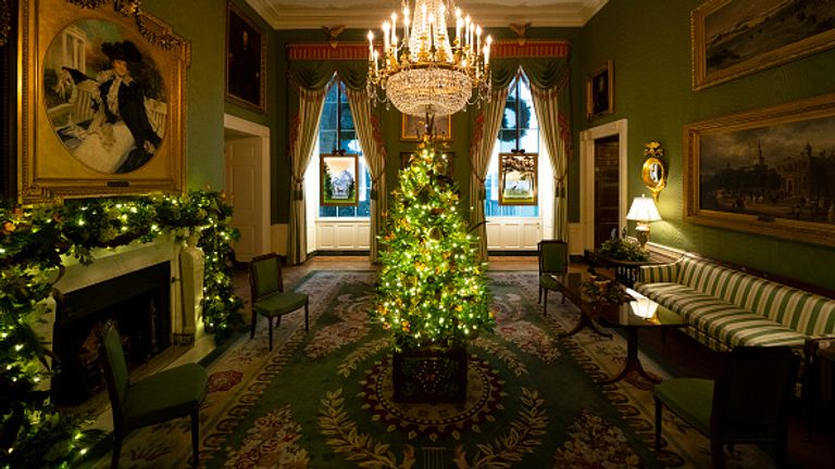 Green Room of the White House decorated for Christmas