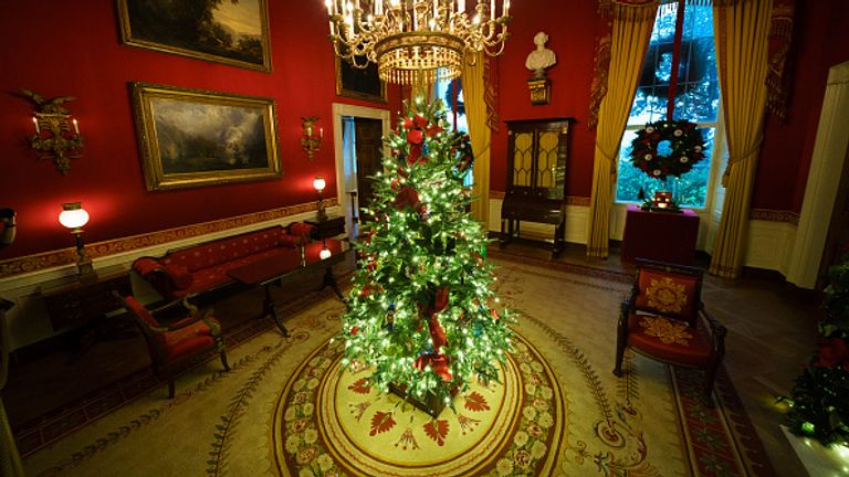 White House Red Room decorated for Christmas