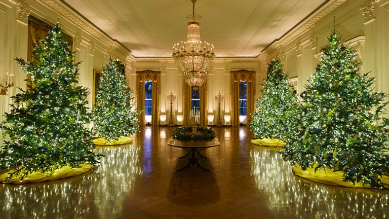 Christmas trees line the East Room of the White House