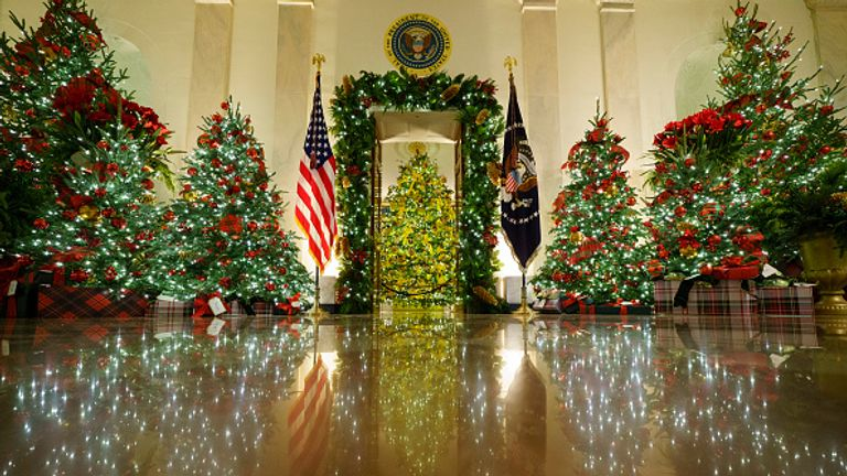 White House Cross Hall full of Christmas trees