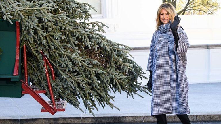 Melania Trump with the White House Christmas tree