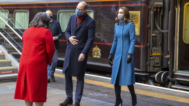 William and Kate are met by Deputy Lord Lieutenant Sandra Cumming in Edinburgh