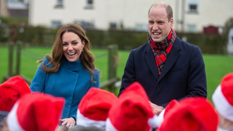 The royal couple meet pupils at Holy Trinity First School in Berwick-upon-Tweed