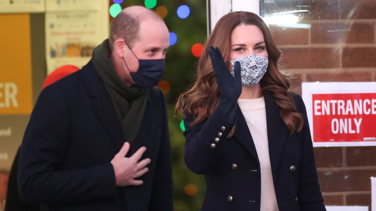 The duke and duchess leave Batley Community Centre in West Yorkshire after meeting volunteers