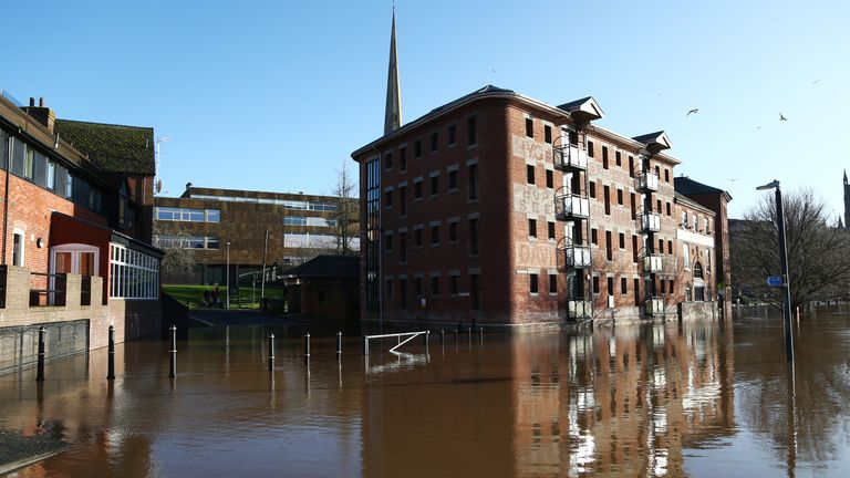 Flooded pedestrian areas in Worcester on Sunday