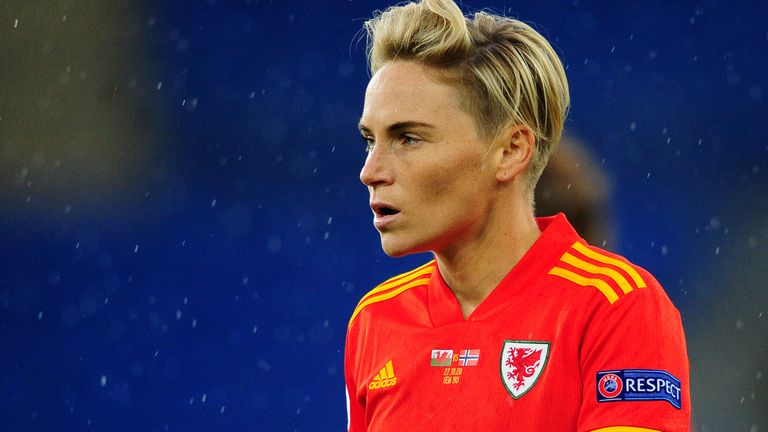 CARDIFF, WALES - OCTOBER 27: Jessica Fishlock of Wales Women...s during the UEFA Women's EURO 2022 Qualifier match between Wales Women and Norway Women at The Cardiff City Stadium on October 27, 2020 in Cardiff, Wales. (Photo by Athena Pictures/Getty Images).