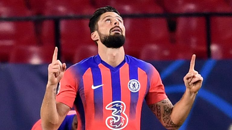 Olivier Giroud signals skywards after opening the scoring for Chelsea against Sevilla
