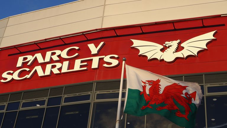 The Welsh national flag outside the main stand during the European Rugby Champions Cup match between Scarlets and RC Toulon at Parc y Scarlets on January 20, 2018 in Llanelli, Wales. (Photo by Michael Steele/Getty Images)