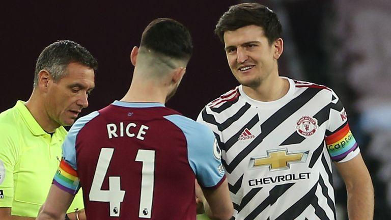 Declan Rice, Harry Maguire, rainbow captain's armbands for Rainbow Laces, Premier League, West Ham vs Manchester United