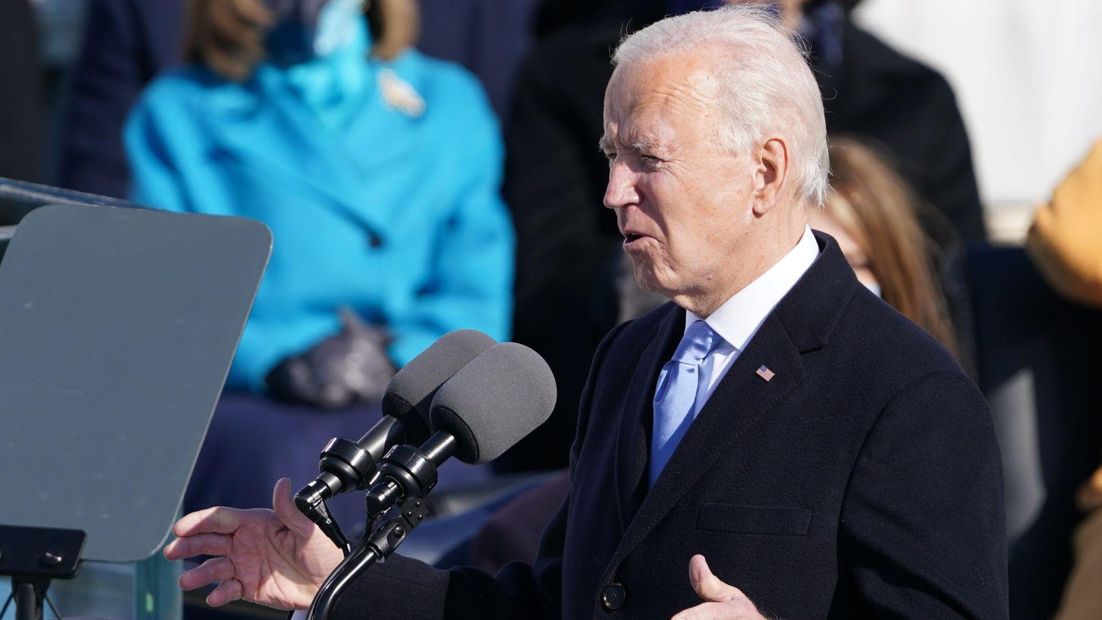 Biden inauguration news live: 'We must stop this uncivil war' - Joe Biden  addresses nation after being sworn in | US News | Sky News