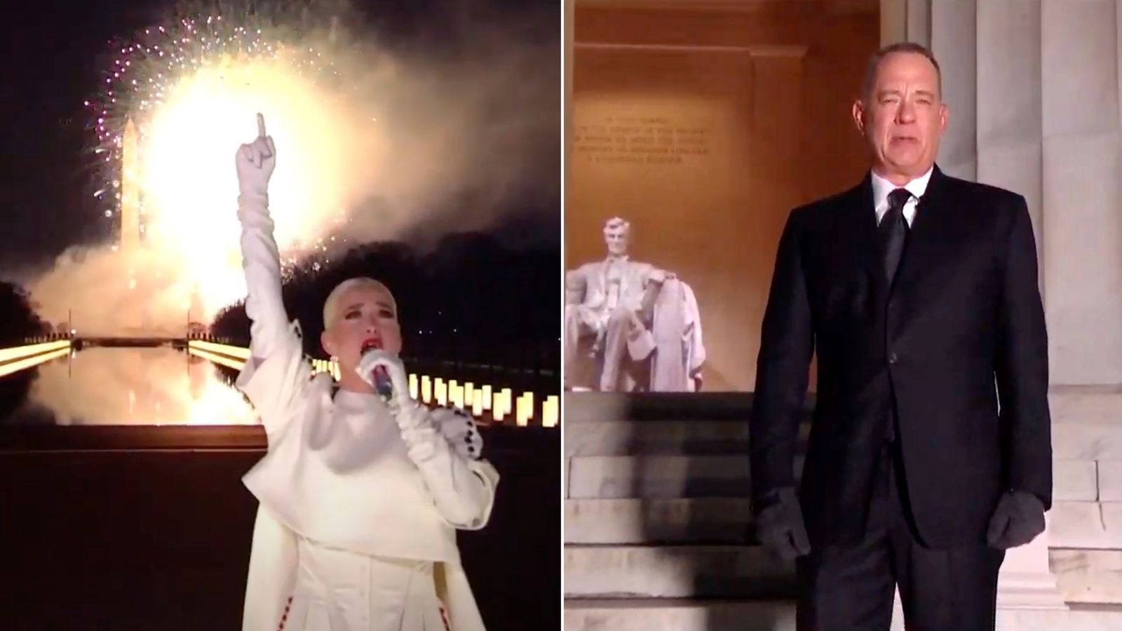 Tom Hanks looks cold and Katy Perry brings the Fireworks: Best bits from Biden's inauguration gala thumbnail