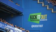 General view of the Kick It Out painted signage on the stadium wall during a Premier League match.