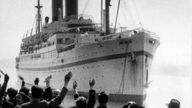 The British troop ship Empire Windrush is pictured arriving at Southampton, England, from the Middle East, April 1953. (AP Photo)