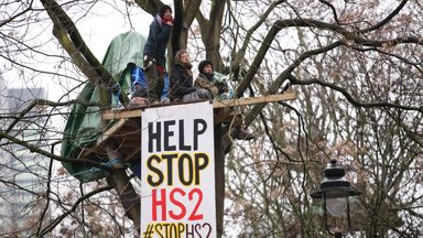 HS2 Rebellion protesters in a tree, part of an encampment in Euston Square Gardens in central London, where the protesters have built a 100ft tunnel network, which they are ready to occupy, after claiming the garden is at risk from the HS2 line development. Picture date: Wednesday January 27, 2021.