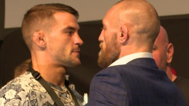 McGregor, Poirier face off with a handshake