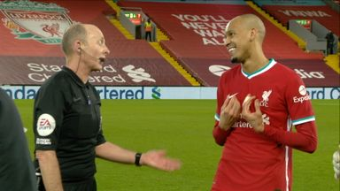 Tempers flare over Fabinho booking (45+2)