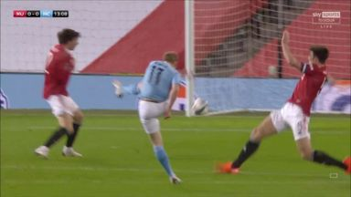 De Bruyne strikes the post!