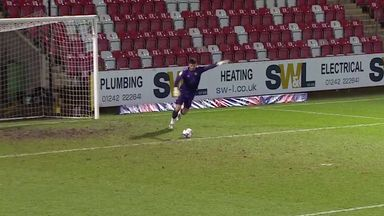 Newport 'keeper scores from his goal kick!