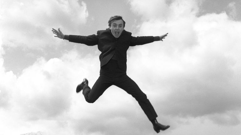 File photo dated 25/04/64 of Gerry Marsden leaping over his supporting Pacemakers. The Gerry and the Pacemakers star has died at the age of 78.