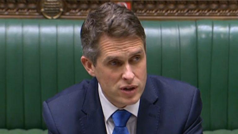 Education Secretary Gavin Williamson delivers a statement on the return of schools after the Christmas break in England, in the House of Commons, Westminster.