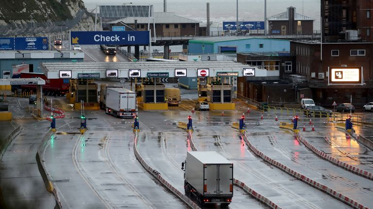 A lorry arrives at the Port of Dover in Kent on the first fully operational day at the port under post-Brexit regulations.