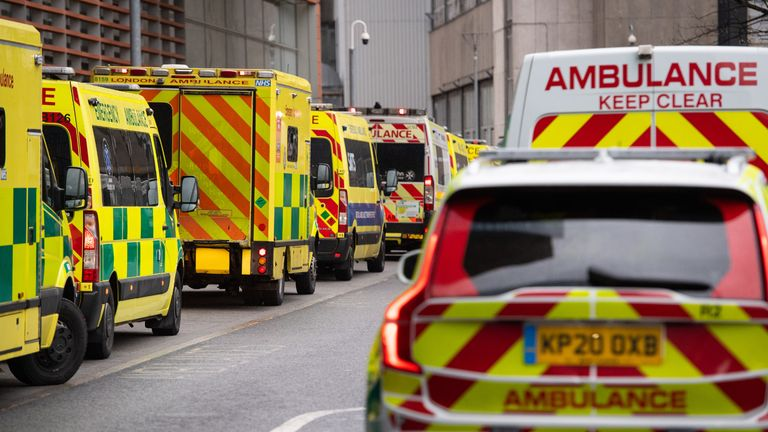 Ambulances outside the Royal London hospital in London after Prime Minister Boris Johnson ordered a new national lockdown for England which means people will only be able to leave their homes for limited reasons, with measures expected to stay in place until mid-February.