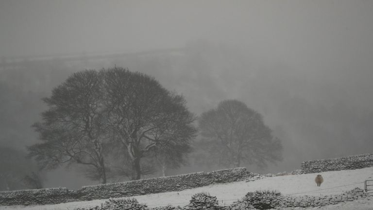 Snow blankets the hills in Midhopestones, in the borough of Sheffield.