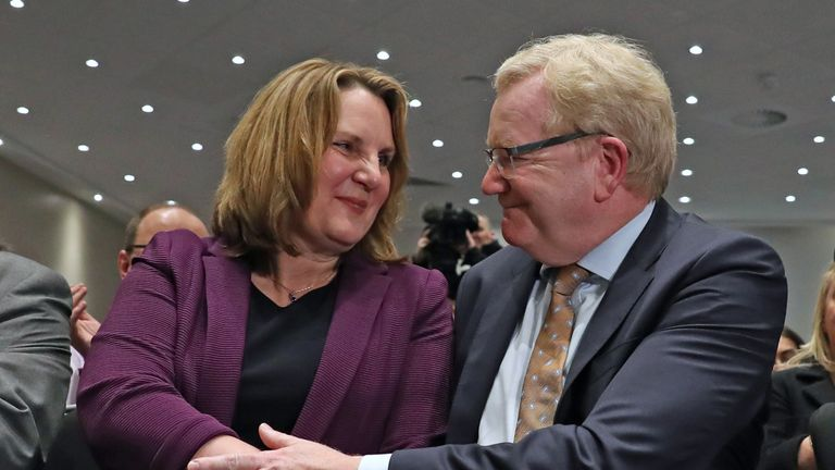 Michelle Ballantyne congratulates Jackson Carlaw as it is announced that he is the new leader of the Scottish Conservatives at the Radisson Blu Hotel, Edinburgh.