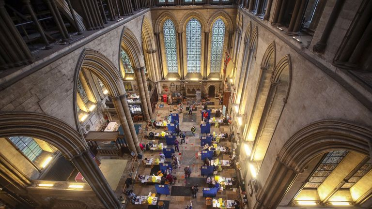 Cubicles erected inside Salisbury Cathedral, Wiltshire, for people to receive an injection of the Pfizer coronavirus vaccine.