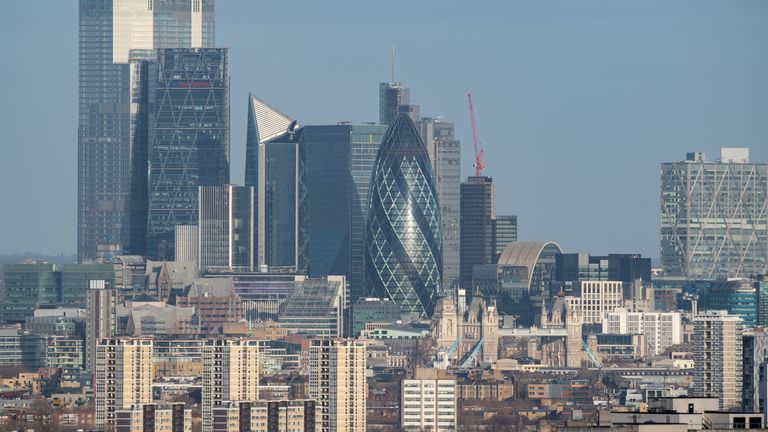 General view of the London skyline, as seen from One Tree Hill, showing skyscrapers in the City financial district, including (from left) Tower 42, the Leadenhall Building (also known as the Cheesegrater), 52 Lime Street (also known as the Scalpel), and 30 St Mary Axe (also known as the Gherkin), and Tower Bridge. PA Photo. Picture date: Tuesday February 4, 2020. Photo credit should read: Dominic Lipinski/PA Wire
