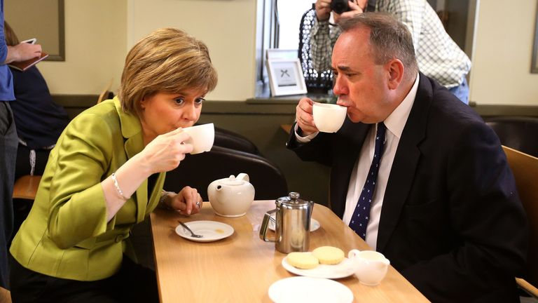 First Minister Nicola Sturgeon enjoys a cup of tea with Alex Salmond while on the General Election campaign trail in Inverurie in the Gordon constituency.