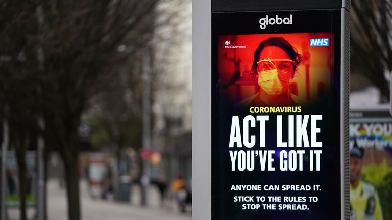 Coronavirus warnings on electronic boards in Nottingham during England's third national lockdown to curb the spread of coronavirus. Picture date: Monday January 18, 2021.
