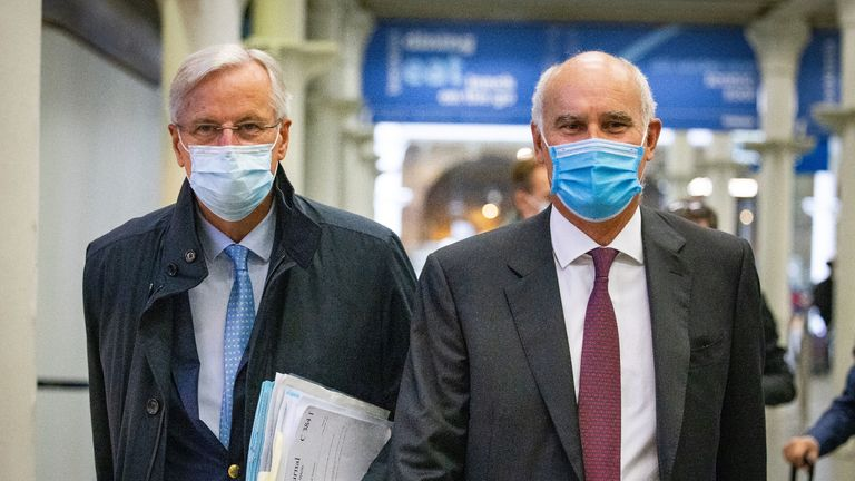 EU's chief negotiator Michel Barnier (left) arriving from the Eurostar with EU Ambassador to the UK, Portuguese diplomat Joao Vale de Almeida at St Pancras International railway station, London, for the latest round of the negotiations on a free trade deal between the EU and the UK.