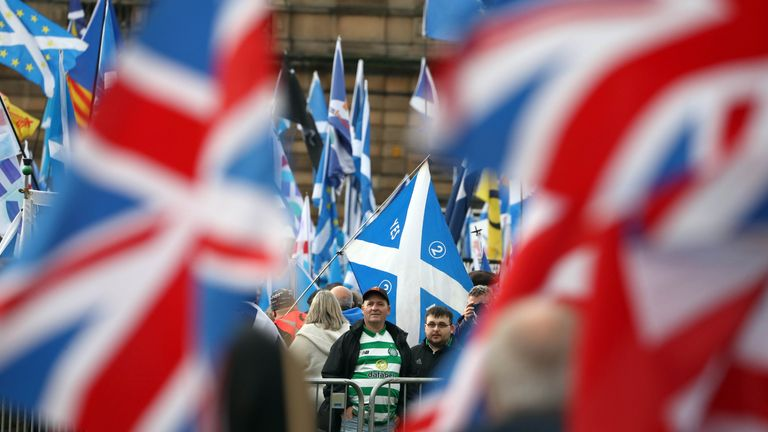 Independence and Union supporters in George Square in Glasgow, Scotland during an 'Exit Brexit' march for Scottish independence. PA Photo. Picture date: Saturday November 2, 2019. See PA story POLITICS Independence. Photo credit should read: Andrew Milligan/PA Wire
