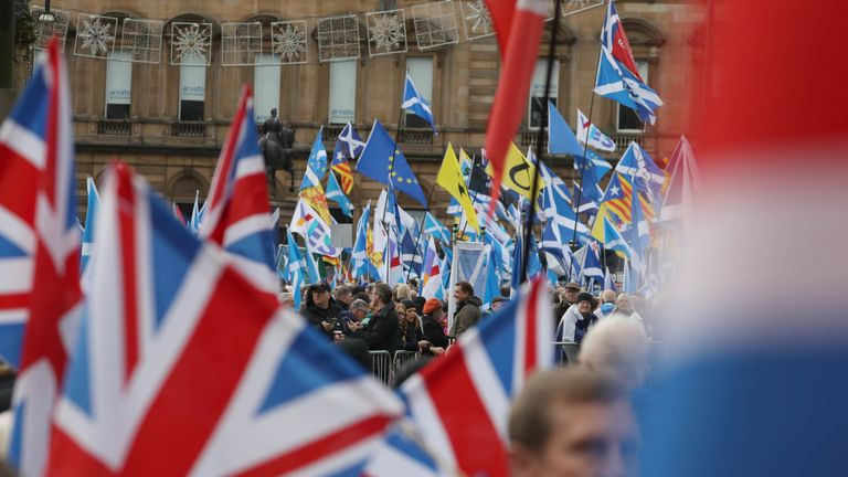 Independence and Union supporters in George Square in Glasgow, Scotland during an 'Exit Brexit' march for Scottish independence.