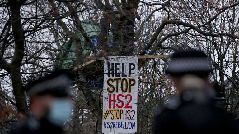 Police enforcement officers move in to the encampment in Euston Square Gardens in central London, where HS2 Rebellion protesters have built a 100ft tunnel network, which they are ready to occupy, after claiming the garden is at risk from the HS2 line development. Picture date: Wednesday January 27, 2021.